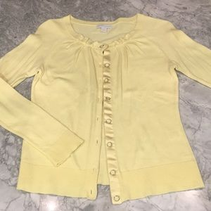 NY&Co Pastel Yellow Long Sleeved Sweater Cardigan